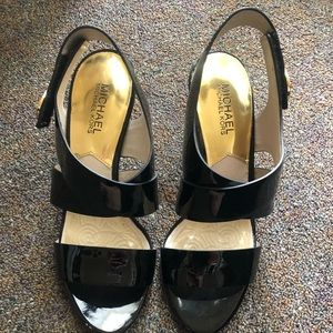 Michael Kors black heels with gold accent